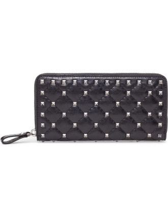 Rockstud Cracked Leather Zip Around Wallet