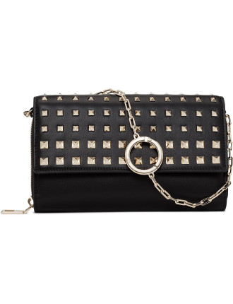 SMOOTH CALF DEGRADE STUDS CHAIN WALLET