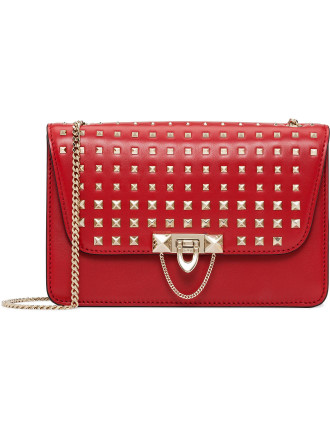 DEMILUNE SMALL SHOULDER BAG WITH DEGRADE (STUDS)