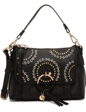 LEATHER JOAN SHOULDER BAG SMALL WITH STUDS