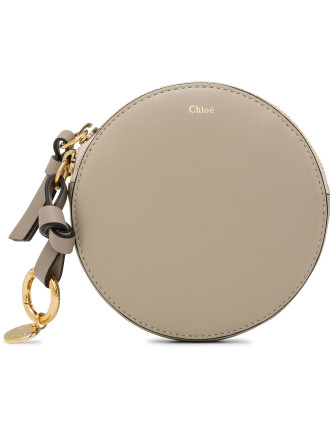 Alphabet Calf Skin Small Round Purse