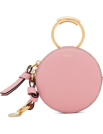 SMOOTH CALFSKIN ALPHABET SLG MINI ROUND PURSE WITH HOOK