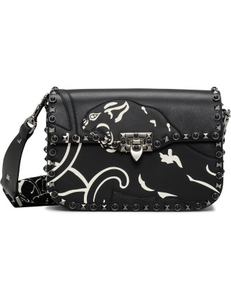 Vitello Panther Guitar Rockstud Rolling Noir Shoulder Bag