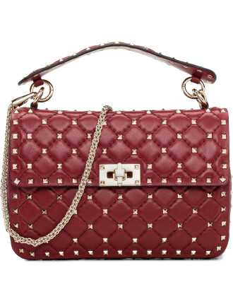 Nappa Rockstud Spike Medium Shoulder Bag