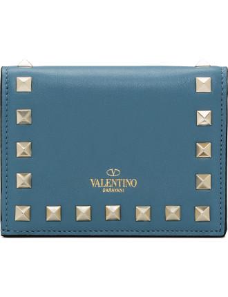 Vitello Rockstud Flap French Wallet