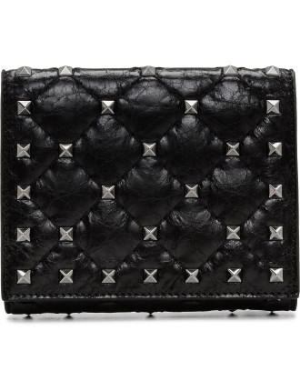 Cracked Lamb Rockstud Spike Flap French Wallet