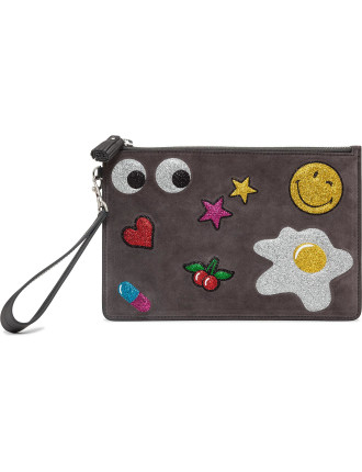 Zip Top Pouch Glitter Stickers In Suede Lux Pouch
