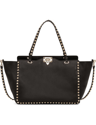 Rockstud Medium Calf Tote With Long Strap