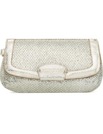 Zeta Glitter Fabric Mini Flap Wristlet