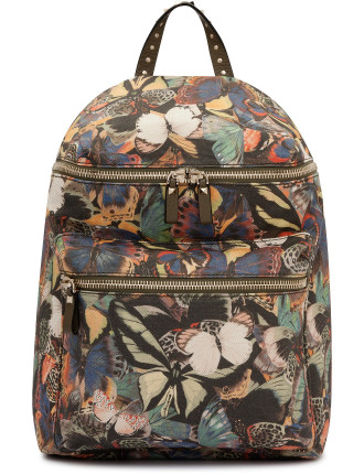 Large Canvas Camo Butterflies Backpack