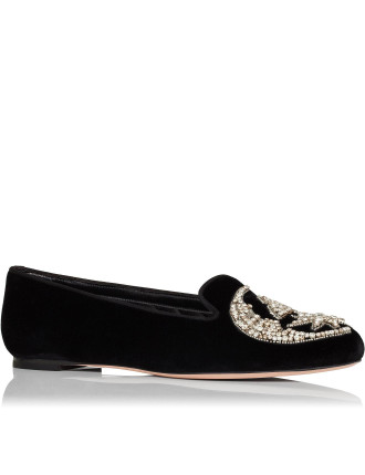 Velvet Slip On With Crystal Embroidery