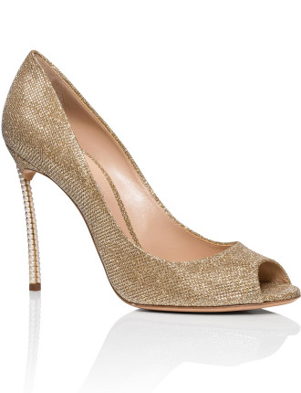 Open Toe Glitter Fabric Shoe W/ Pearl Heel 100mm