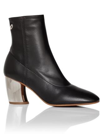 Black Bootie Silver Heel 70mm