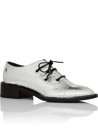 Lace Up Flat In Silver