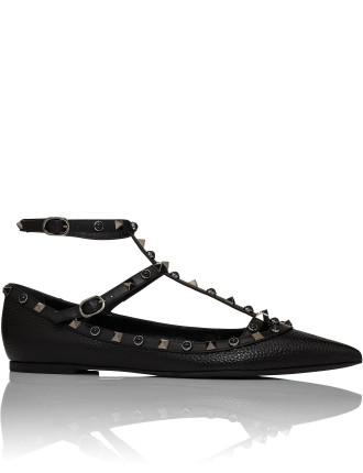 Rockstud - Flat Ankle Strap Ballerina