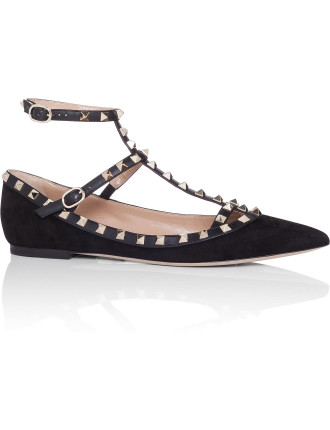 NW0S0376 WVW SUEDE ROCKSTUD CAGED BALLERINA