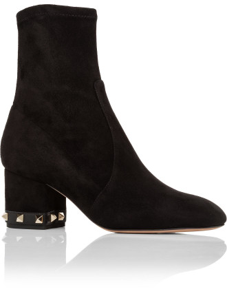 ROCKSTUD ANKLE BOOT SUEDE STRETCH 60MM HEEL STUDS ON HEEL