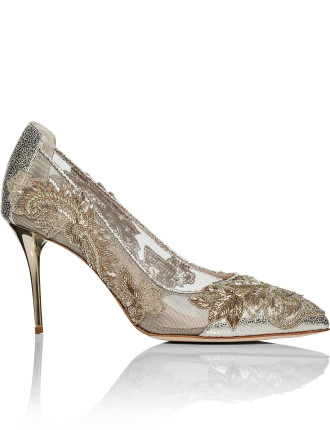 P1701261 METALLIC LEATHER ALYSSA 85MM EMBROIDERY PUMP