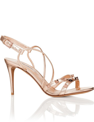 ROCKSTUD 85MM HEEL SANDAL METALLIC LTHR STUDS TONE ON TONE