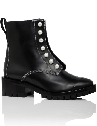 Shp7-T392sle Hayett - Lug Sole Zipper Boot With Pearls