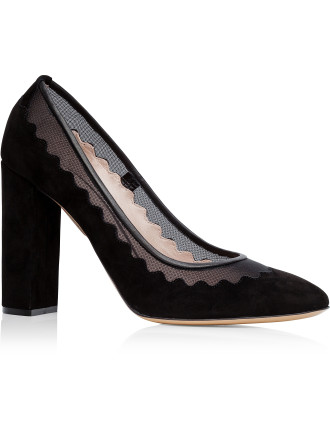 Suede Pump With Net Scallop Detail Thick Heel