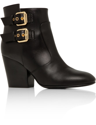 Smooth Calf Ankle Boot With Gold Buckles