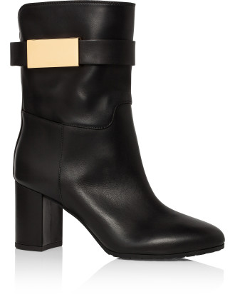 Calf Pull On Mid Boot With Gold Plaque