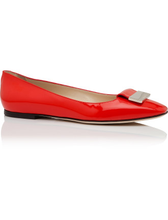 Harlow Pat Patent Flat With Hardware Square Toe