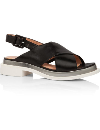Caliba Lambskin Flat Sandal With Contrast Thick Sole