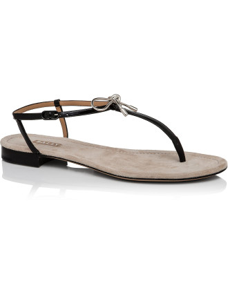 Lisanne Patent Flip Flop With Silver Plated Bow
