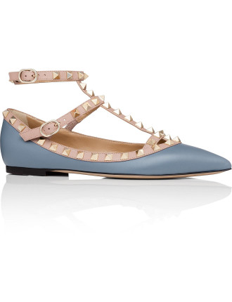 Flat Rockstud Leather Caged Ballerina