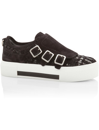 Low Top 3 Buckle Sneaker Woven Leather