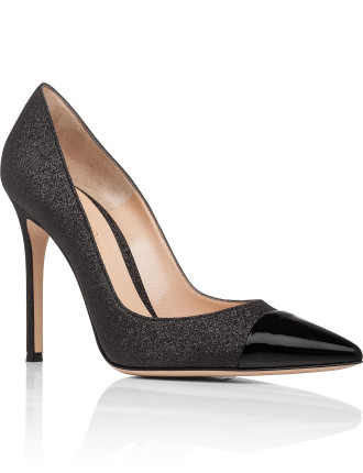 Simple Pump With Glitter Body Patent Toe