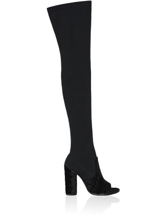 Valentina Thigh High Boot W Burnished Velvet Detail