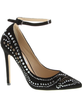 High Heel Studded Pump W Ankle Strap