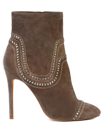 Delve High Heel Ankle Boot With Stitch Detail