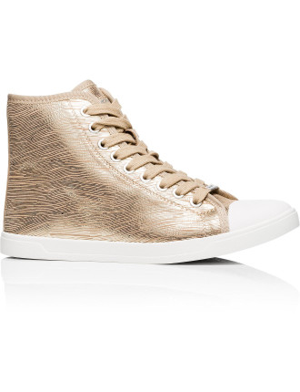 Brave Soft Leather/Metallic High Top Sneaker