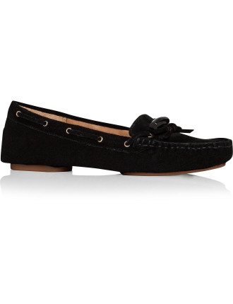 Cow Suede Loafer With Toggle Logo Tie