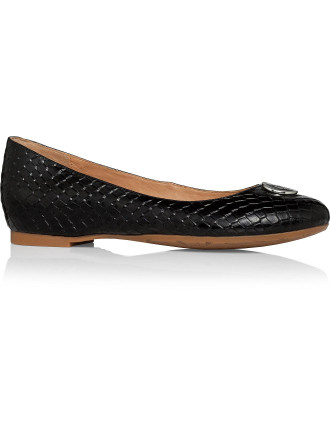 Snake Printed Patent Leather Ballet