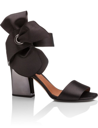 75mm Metallic Block Heal Sandal W Removable Bow