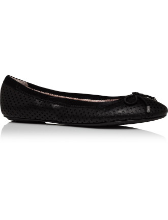 Bella Perforated Ballerina Flat with Bow