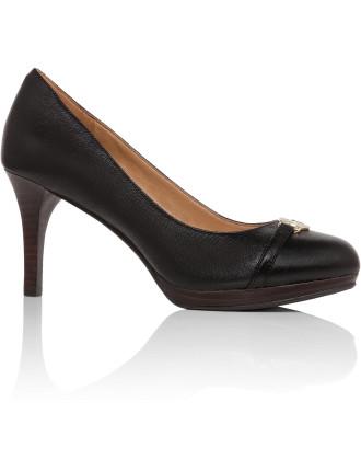 Leather Mid Heel Pump