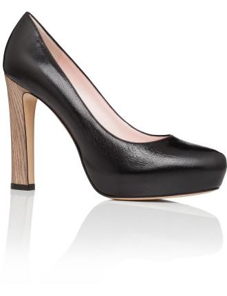 Noela - Platform Pump Gazed Goar W Wooden Heel