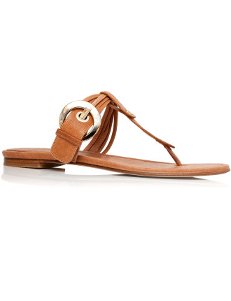 T Bar Flat Thong with Oversized Buckle