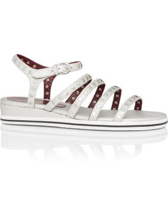 Gena Strappy Studded Flat Sandal
