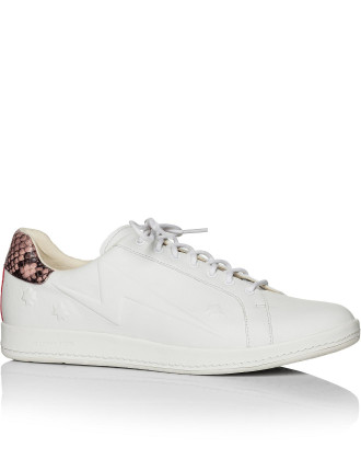 Ps By Paul Smith Lapin White Trainer With Snake Heel Trim