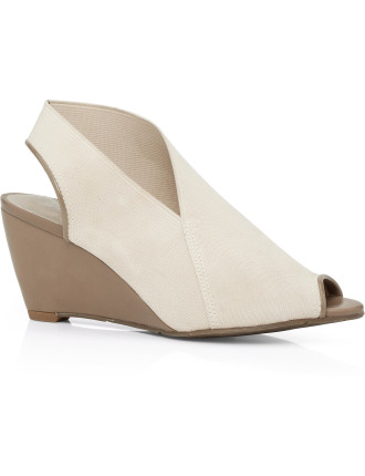 Elan Elastic Peep Toe Wedge Court