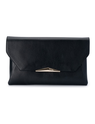 LEATHER ENVELOPE CLUTCH SHOULDER BAG