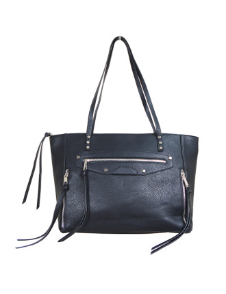 Tb 'Eleni Zipper Tote (Silver Fittings) Black