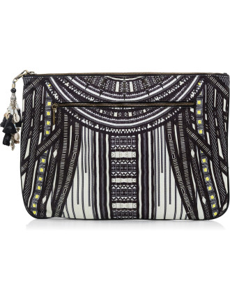 Between The Lines Large Canvas Clutch